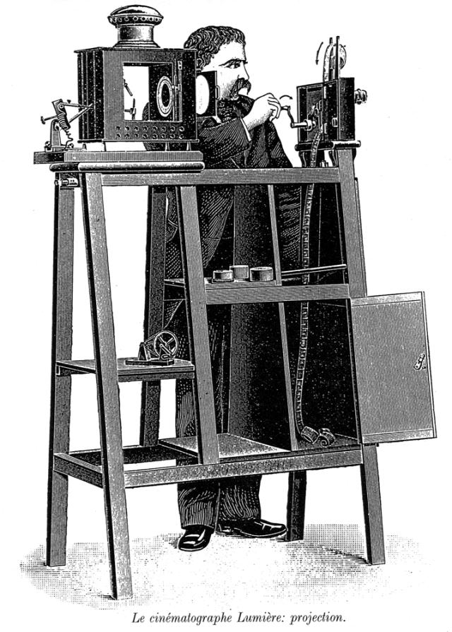 The cinématographe Lumière in projection mode.